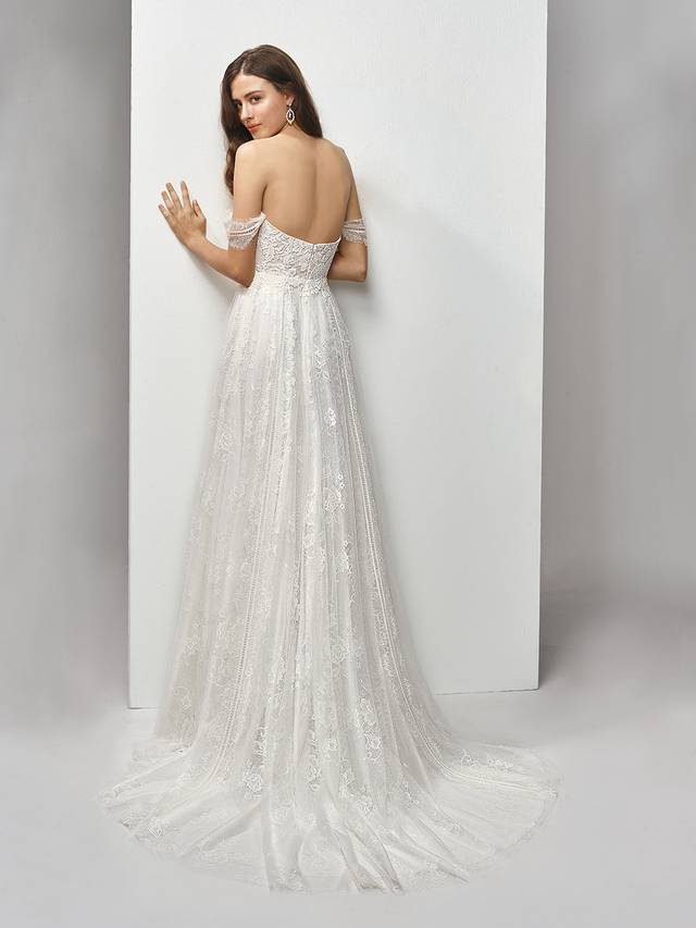 Code: Enzoani Beautiful BT19-07 Modern form meets classic, romantic detailing in this full-length, A-line gown with a deep sweetheart neckline. The chantilly and sequin embroidered lace paired with soft, flowing tulle results in the sweetest of contemporary styles accented with delicate off-the-shoulder sleeves.Colour Options : Ivory/Beige  Or  Ivory/Ivory