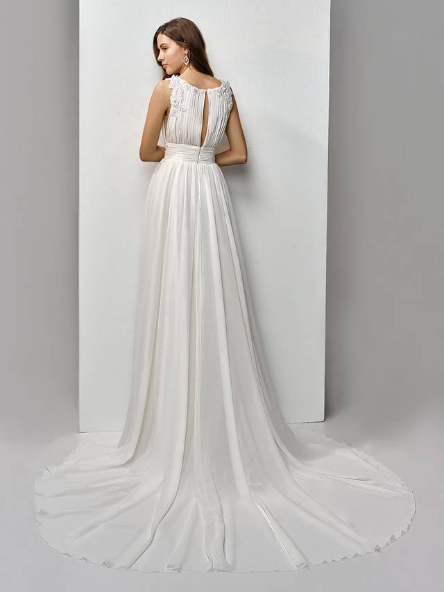 Code: Enzoani Beautiful BT19-13 Channel your inner Grecian goddess in this full-length, A-line gown made of the softest light chiffon. Beaded, embroidered lace on 3D floral motifs gently drape down the shoulders to form a sweet peek-a-boo keyhole back to complement the sweetheart bateau neckline. A band of chiffon at the waist cinches and flatters the figure while an invisible back zipper closure provides a seamless finishing touch.Colour Options: Ivory