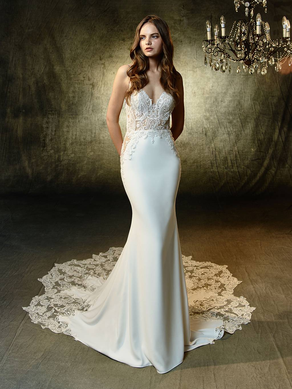 a306e22ae039f Code: Enzoani Blue Lena. Sulty mermaid gown with the most exquisite beaded,  embroidered lace sweetheart bodice.