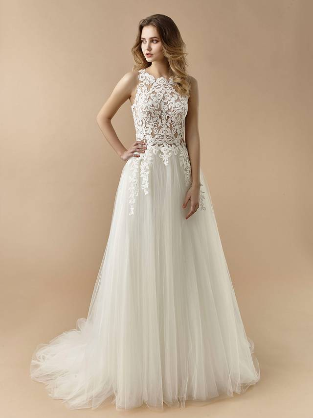 Code: Enzoani Beautiful BT20-10 Sweet and romantic, this A-line gown features a gorgeous high-neck illusion lace bodice. A jaw-dropping illusion back features covered buttons trailing down the centre, while delicate lace appliques trickle down to the top of the dreamiest tulle skirt.Colour Options: Ivory/Nude  OR  Ivory/Ivory